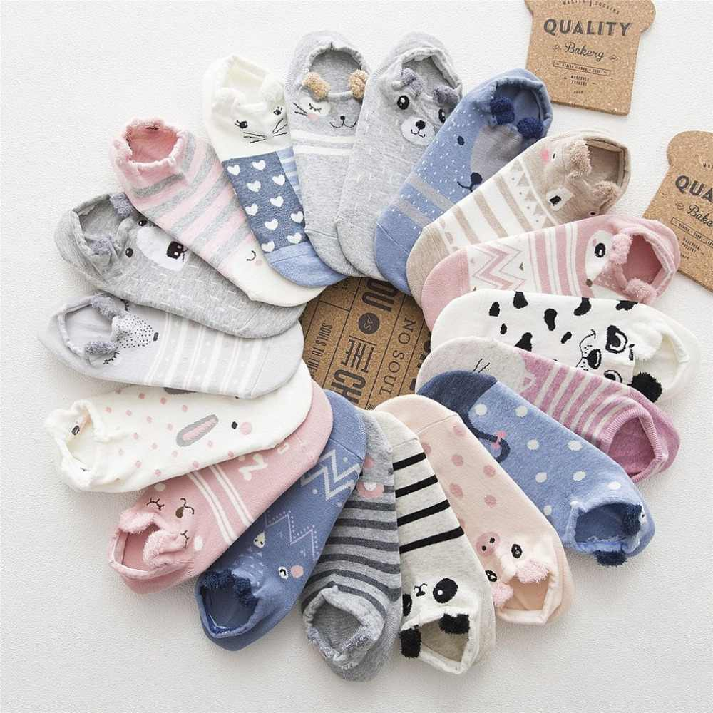 Girls Cute Animal Cotton Socks Female Kawaii Cat With Dog Summer Short Socks Slippers Women Casual Soft Funny Boat Socks