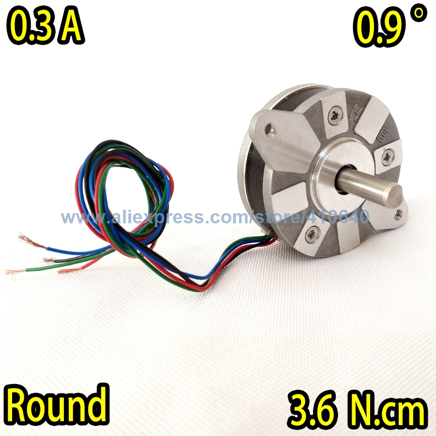 Free Shipping Round Nema14 Stepper motor 14HR05-0304S with 0.9 degree 0.3 A 3.6 N.cm with 4 wires WITHOUT Gear Shaft