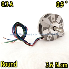 Free Shipping Round Stepper motor 14HR05-0304S Nema14 with 0.9 degree 0.3 A 3.6 N.cm 4 wires WITHOUT Gear Shaft