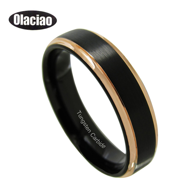 High Quality Tungsten Wedding Ring Men Women Black Rose Gold