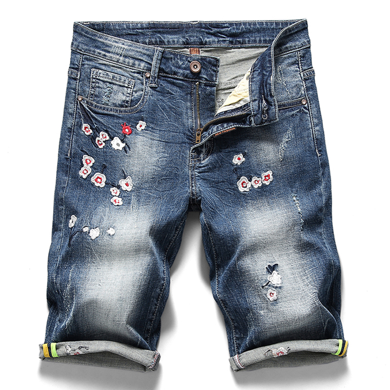 Denim Shorts Flower Jeans Elastic Men's Fashion Casual Summer Brand New Male 3D Embroidery
