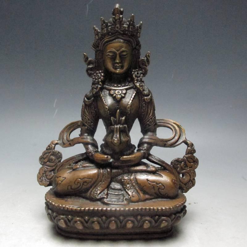 Statue de bouddha en Bronze chinois blanc Tara