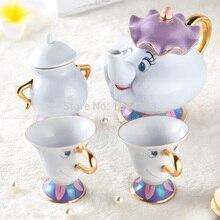 Echte Karikatur Schönheit Und Das Biest Tee-Set Frau Potts Teekanne Chip Tasse Zucker Schüssel Pot Set Kaffee Wasserkocher Geburtstagsgeschenk Tropfen schiff