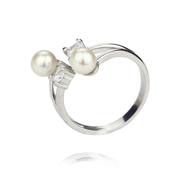 SNH two AA 5-5.5mm perfect round pearl ring genuine natural freshwater pearl ring sterling silver cultured pearl jewelry ring