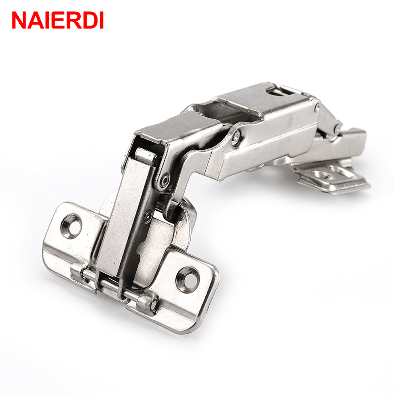 4PCS NAIERDI 175 Degree Hydraulic Buffer Hinge Rustless Iron Soft Close Cabinet Cupboard Door Hinges For Furniture Hardware 2pcs 90 degree concealed hinges cabinet cupboard furniture hinges bridge shaped door hinge with screws diy hardware tools mayitr