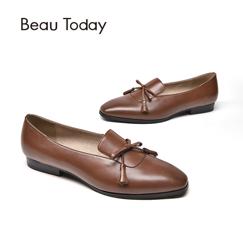 BeauToday Loafers Women Butterfly-knot Fringes Handmade Shoes Top Quality Genuine Leather Brand Slip On Flats 27084 beautoday loafers women top quality brand flats genuine leather metal decorated square toe calfskin shoes mix colors 15701