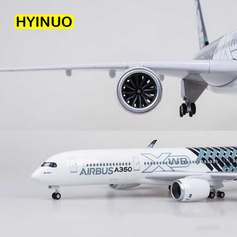 47CM 1/142 Scale Airplane Airbus A350 Prototype XWB Airline Plane Model W Light Wheel Diecast Plastic Resin Plane For Collection
