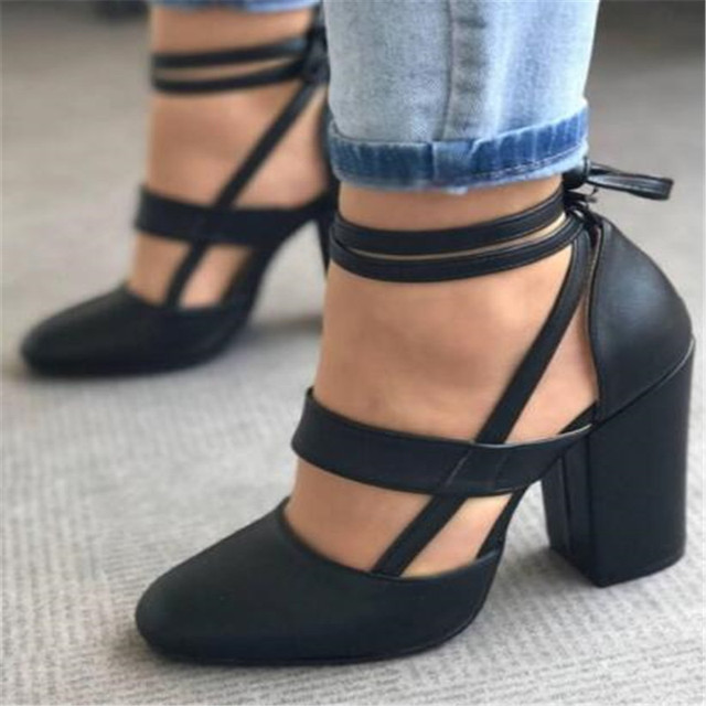 2018 new European and American style women's shoes fashion thick with high-heeled shoes strap sandals