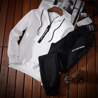 Men Casual Hoodies Men Off White Jacket And Pant Two piece sets Long Sleeve Casual Tracksuits Sportwear