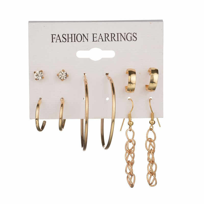 Fashion earrings for women Ear Ring Set Combination Of 5 Sets of special circle aretes de mujer