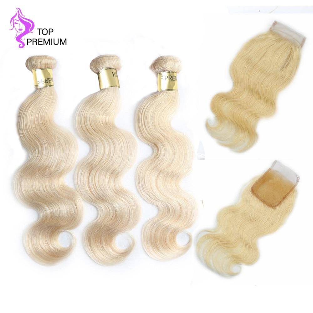 Топ Премиум блондинка человеческих волос Связки с кружевом Закрытие бразильского Девы волос соткет объемная волна #613 Бесплатная доставка