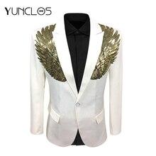 YUNCLOS крылья, дизайнерский мужской пиджак, весенний Однобортный блейзер для свадебной вечеринки, Мужской приталенный пиджак, модный блейзер