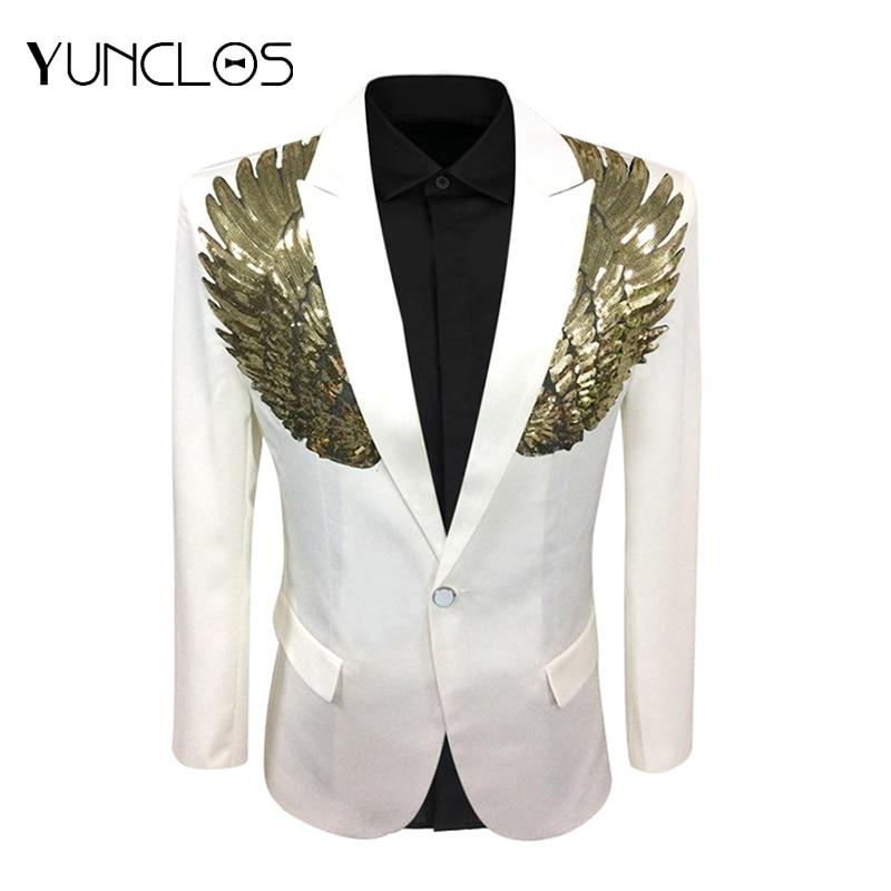 YUNCLOS 2019 Wings Design Men Suit Jacket Spring Single Breasted Wedding Party Blazer Men Slim Fit Suit Blazer Fashion Blazer