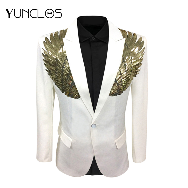 YUNCLOS Wings Design Men Suit Jacket Spring Single Breasted Wedding Party Blazer Men Slim Fit Suit Blazer Fashion Blazer
