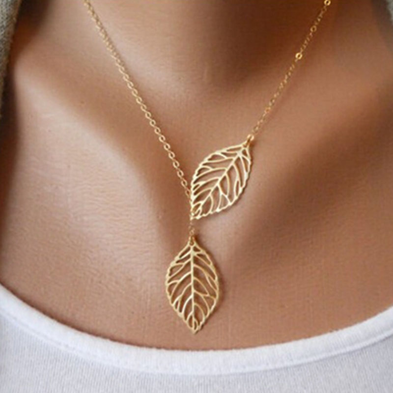 Fashion-Pendant-Necklace-Double-Leaf-Y-Shaped-Statement-Jewelry-For-Women-Girls-Boho-Simple-Alloy-Clavicle