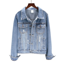 Spring Autumn 2019 Women Elegant Button Ripped Holes Jean Jacket Female Vintage Pocket Long Sleeve Denim Coat Casacos Feminino