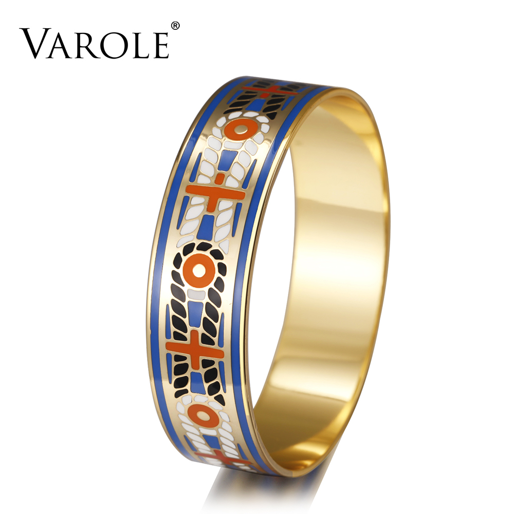 VAROLE 18mm Width Bohemia Enamel Cuff Bracelets Gold Color Elegant Classic Bangles for Womens Clothing Accessories Pulseiras varole fashion enamel opening bracelets