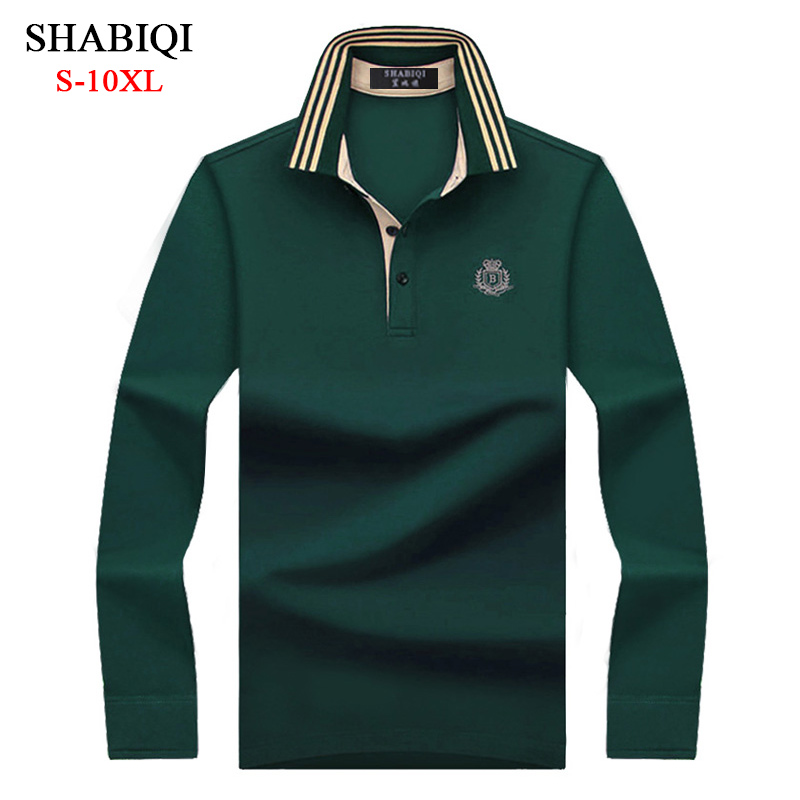 2019 Autumn Men Classic Polo Shirt Men's Business Casual Cotton Male Top Tees Long Sleeve Turn-down Collar Polo Shirt Plus Size