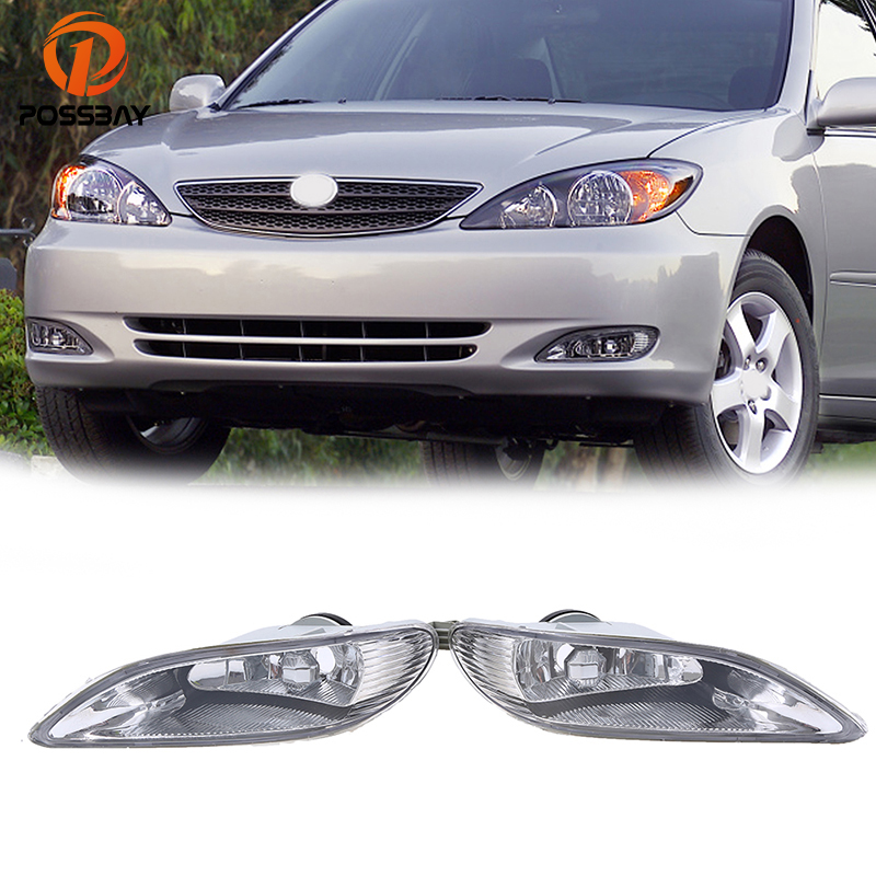 POSSBAY Car Front Lower Bumper Fog Light Fog Lamps for 2002-2004 Toyota Camry Models Pre-facelift Car-styling Fog Light Housing 2 pcs set car styling front bumper light fog lamps for toyota venza 2009 10 11 12 13 14 81210 06052 left right