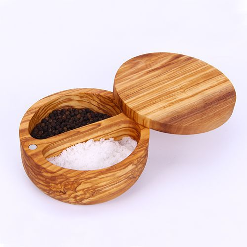 1 Pcs Salt Sugar Pepper Shaker Keeper E Cruet Italian Olive Wood No Paint Cooking