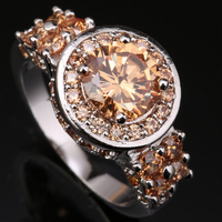 Sale Around The One Laps Orange Champagne Morganite Overlay 925 Sterling Silver Fashion Jewelry Size 6 7 8 / 9 S0831
