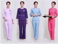 High quanlity Free Shipping Pattern Airline Hostess Thai Spa Massage Beautician Uniform Bow Tie Tops and Long Pants Uniform Set