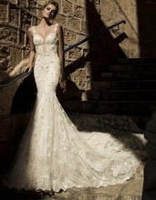 Fashionable Bridal Gowns Pearls Beaded Sweetheart Backless Lace Mermaid Wedding Dresses robe de mariage Custom Made