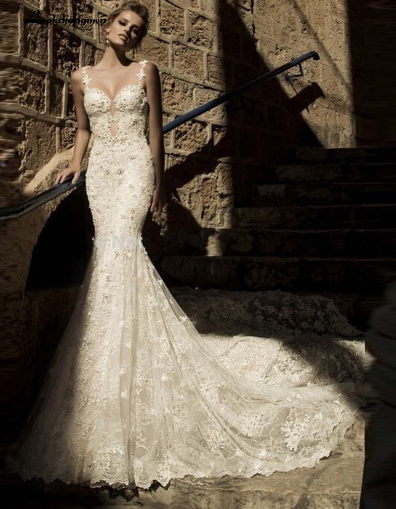 Fashionable Bridal Gowns Pearls Beaded Sweetheart Backless Lace Mermaid font b Wedding b font font b