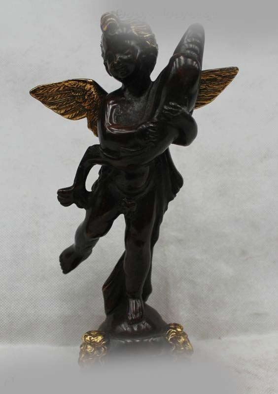 10 Китай Китайский Бронзовый Gild Лаки Отличные Красивые Ангел Дельфин статуя