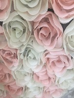 Peach +ivory Rosette Fabric, Baby Photography Prop Backdrop fabric, chiffon rosette fabric