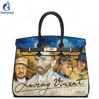 Действительно воловьей кожи сумки LOVEing Винсент Ван Гог книги по искусству масла Personalizar bolso женские плечевые сумочки Кошельки Хобо Сумка зам