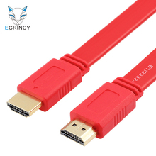 EGRINCY 0.3M 1M 1.5M 3M 5M Gold Plated Plug Male-Male HDMI Cable 1.4 Version Flat Line Short 1080P 3D For PS3/4 HDTV Projector
