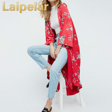 New 2018 Women Boho Floral Printed Red Casual Loose Kimono Cardigan Summer Woman Long 3/4 Sleeve Open Outwear Tops
