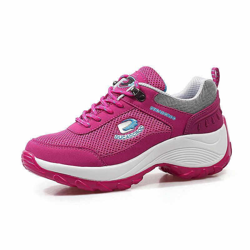 Krasovki tênis feminino verão lazer malha dropshipping fundo grosso aumenta a permeabilidade do ar moda respirável sapatos femininos