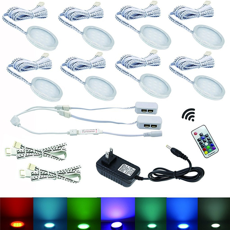 Aiboo 8 RGB Color Changing LED Under Cabinet Puck Lights Wireless Dimming for Home Kitchen Counter