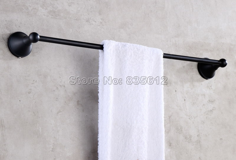 Black Bathroom Accessory Wall Mounted Single Towel Bar Towel Rack Rails Oil Rubbed Bronze Finish Wba853 bathroom accessory black oil rubbed bronze toothbrush holder set two ceramic cups wall mounted wba828