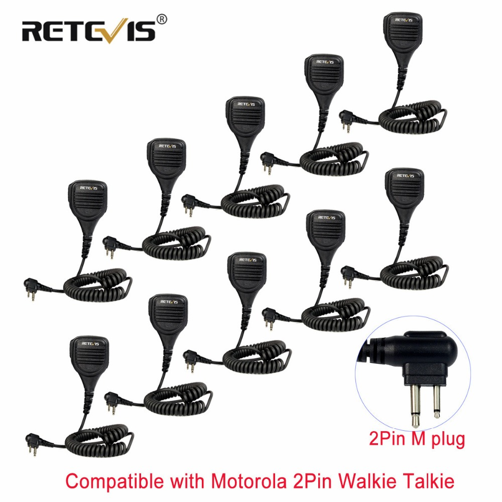 10pcs Retevis 2Pin M Plug Speaker Microphone PTT 3.5mm Audio Jack  For Motorola GP68/GP88/GP300/GP2000/CT150 Walkie Talkie Radio