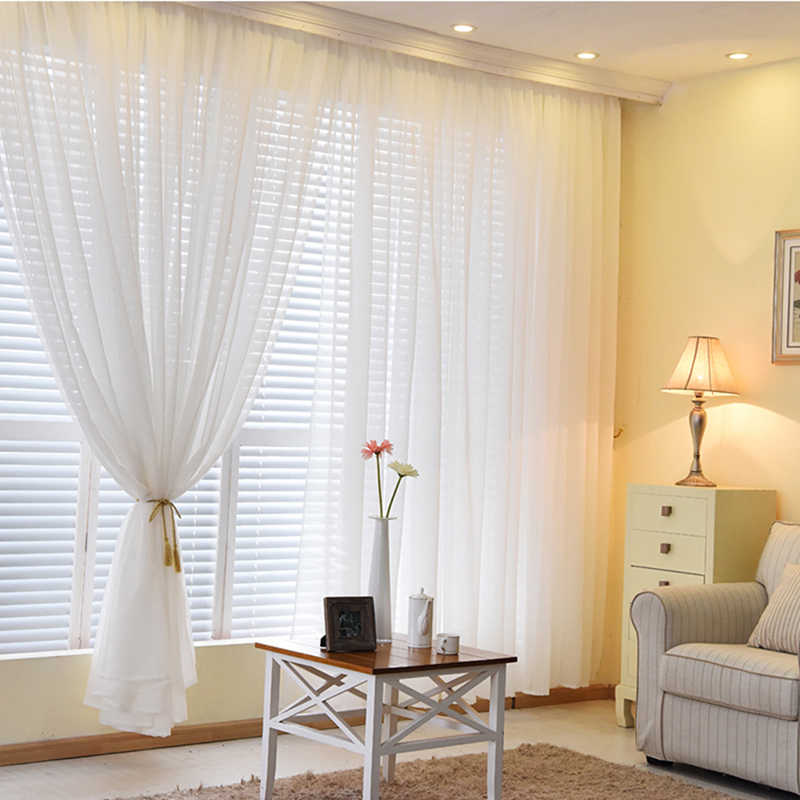 Organza Curtains for Living Room Solid Colors Sheer home Modern Bedroom  Decorations Window Tulle Voile Curtain Panel (B509)