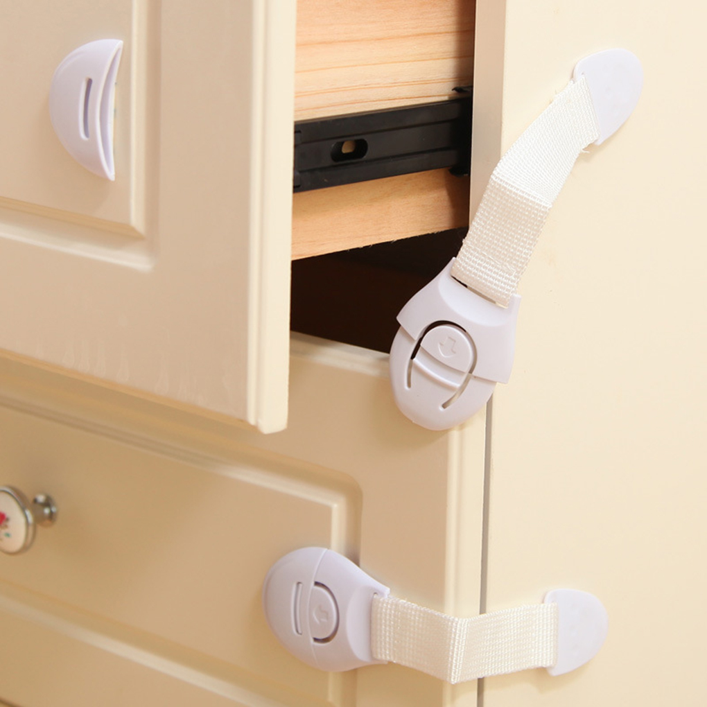 2Pcs Safety Plastic Children Protection Lock Cabinet Door Drawers Refrigerator Toilet Blockers Kids Baby Care Safety Lock Strap