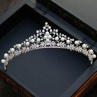 Dote me Lujo Corona de La Perla Nupcial Pedazo Del Pelo de La Boda Accesorios Tiara Diadema Hairband de Las Mujeres Zirconia
