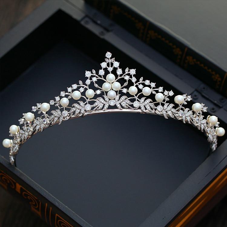 Dower me Luxury Pearl Crown Bridal Zirconia Headband Tiara Wedding Hair Piece Accessories Women Hairband
