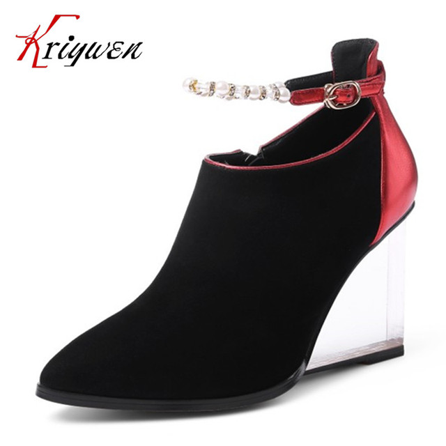 2017 Spring suede crystal heeled pumps for office career lady pointed toe  wedges fashion string bead