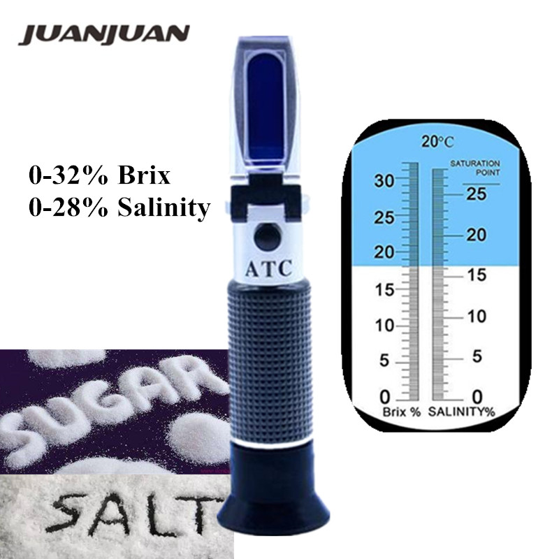0-28% Salinity Meter 0-32% Brix Dual Scale Refractometer 2 In 1 Brix & Salt Refractometer With ATC Tester for Brine Fruit 50%off
