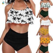 2019 Palm Tree Push up Bikini Set Women Helter Ruffle Swimwear Sexy Off Shoulder High Waist Swimsuit Women Beach Bathing Suit