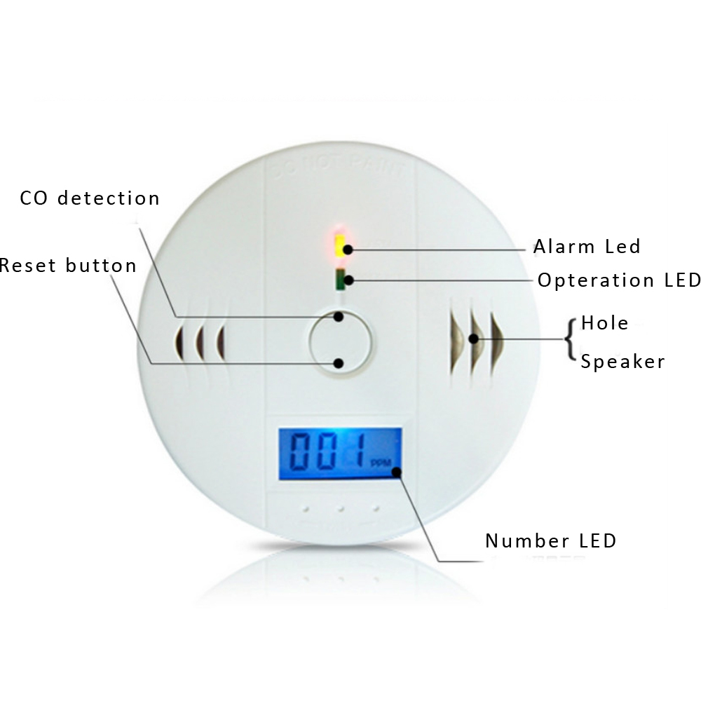 Home Security 85dB Warning High Sensitive LCD Photoelectric Independent CO  Gas Sensor Carbon Monoxide Poisoning Alarm e17a07492