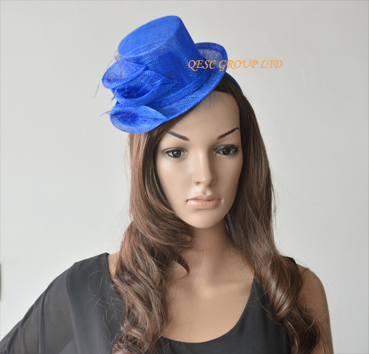 0e51a9766cd NEW Wholesale Royal blue Sinamay Fascinator mini hat for Wedding ...