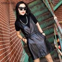 SHILO GO Leather Dress Womens Summer Fashion sheepskin genuine leather Dress spaghetti strap stretch waist open up causal dress