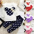 Рождество 2016 зима стиль одежды малышей одежда для новорожденных детские наборы хлопка Минни случайные костюмы 2 шт. девочка детская одежда набор