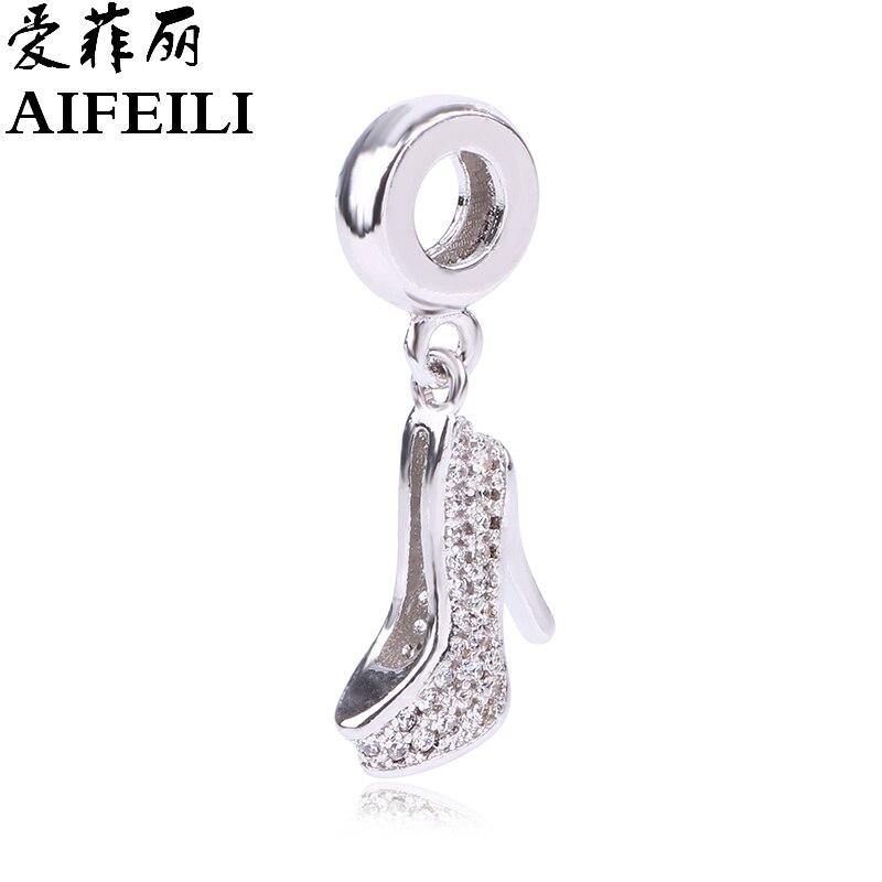 AIFEILI Fits Pandora Charm Bracelet 925 Sterling Silver Jewelry High Heeled Shoes Crystal Clear CZ Crystal Original Charms Beads