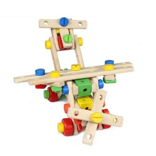 Vis en bois jouet éducatif bricolage assemblage montessori bébé intelligece variété multi-fonction écrou combinaison enfants puzzle